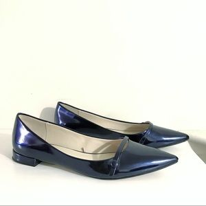 ZARA metallic navy blue pointed Mary Jane flats
